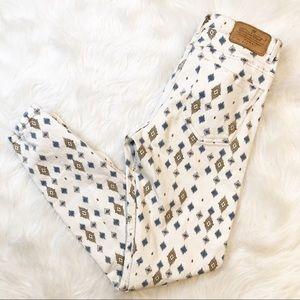 Zara Trafaluc white blue diamond skinny jeans 6
